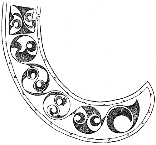 Fig. 105.—Half of the Crescentic Collar-like Plate of Bronze found with the Mirror at Balmaclellan.