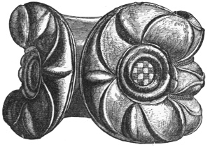 Fig. 115.—Bronze Armlet, with enamelled ornaments (one of a pair), found at Castle Newe, Aberdeenshire. Front view (5¾ inches in diameter).