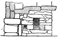 Fig. 168.—Sectional elevation of S.E. side of entrance passage of the Broch at Loch Duich, showing doorway of guard-chamber, and bar-hole (wall 12 feet thick).