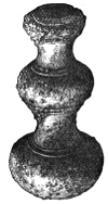 Fig. 208.—Bronze Knob found in Broch of Harray (3½ inches in length).