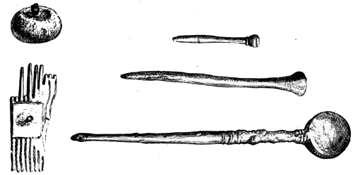 Fig. 210.—Bone Button with iron shank, Fragment of Comb and Pins of Bone and Bronze from Broch of Burray (actual size).