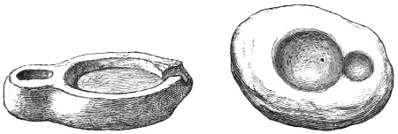 Figs. 215, 216.—Lamps from the Broch of Okstrow.