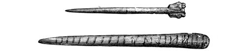 Figs. 228, 229.—Bone Pin with ornamental head, and pin with transverse markings, from Broch of Burrian (actual size).