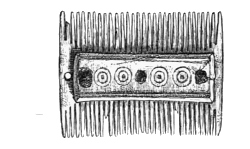 Fig. 235.—Double-edged Comb of Bone from Broch of Burrian (half actual size).