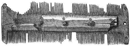 Fig. 236.—Double-edged Comb of Bone from Broch of Burrian (5½ inches in length).