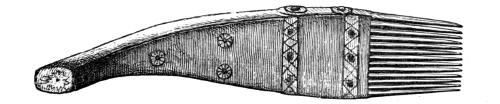 Fig. 241.—Weaving-comb of Wood and Iron used in India (13 inches in length).