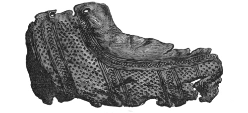 Fig. 245.—Portion of a Shoe of stamped leather (length, 7 inches).