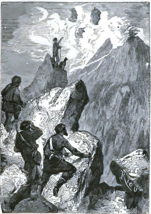 They saw the captain standing on a rock