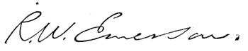 (signature) R. W. Emerson.