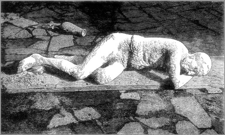 DISCOVERED BODY AT POMPEII.