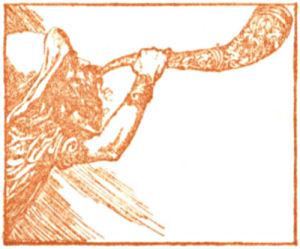 A bearded man blows a horn