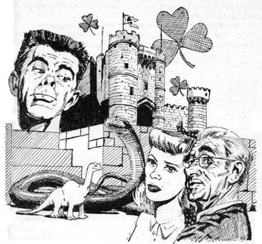 Drawing of a man's face, a castle, a four leaf clover, a dinosaur.