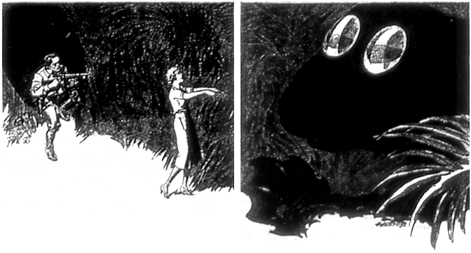 A woman zombie-walks towards a large shadowy figure with huge shining eyes.