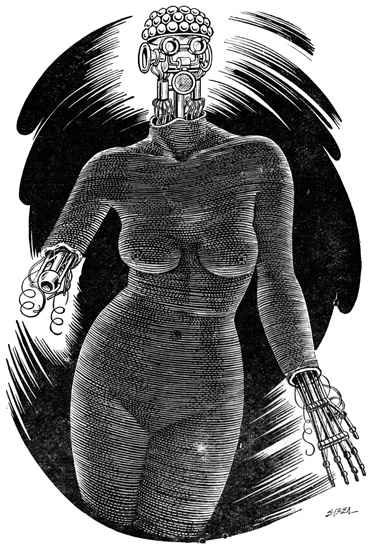 A womanly body, but it has a robotic head, hand and arm showing.