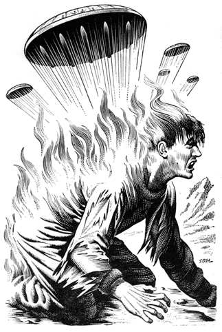 A man crouches. His back is aflame and there are flying saucers over him.