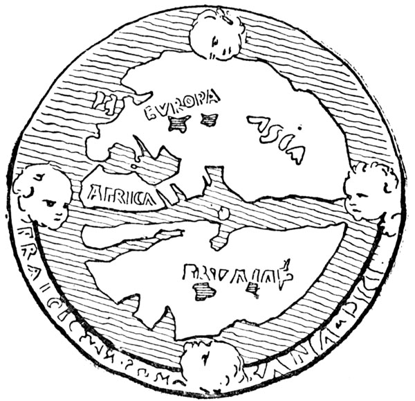 Imaginary Continent, south of Africa and Asia. [The cardinal points are shown by the four winds.