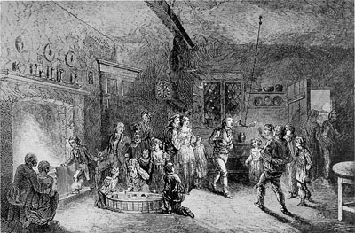 Hallowe'en Festivities. From an Old English Print.