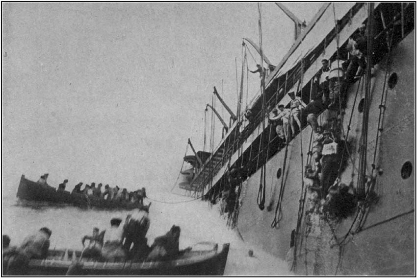 Passengers and Crew leaving a Sinking Liner