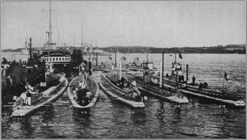 German Submarines U 13, U 5, U 11, U 3, AND U 16 in Kiel Harbor