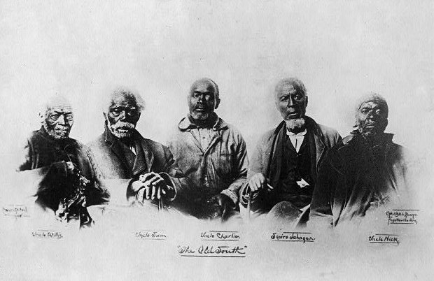 The Old South.  Picture of five Black men: Uncle Willie, Uncle Sam, Uncle Charlie, Squire Sabagen, Uncle Hick.