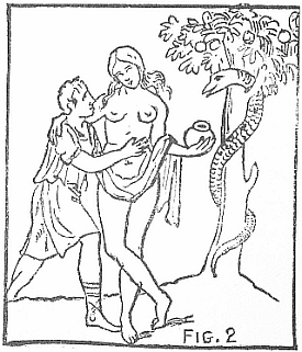 man and woman near fruit tree containing a snake