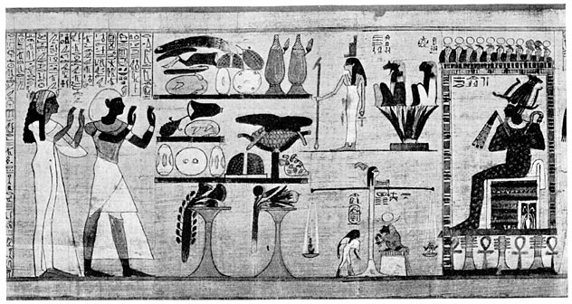 Her-Heru, the first priest-king, and Queen Netchemet standing in the Hall of Osiris and praying to the god whilst the heart of the Queen is being weighed in the Balance.