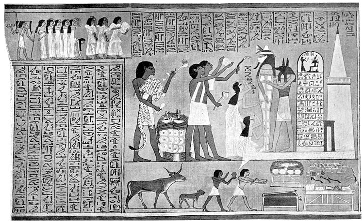 """The Ceremony of """"Opening of the Mouth"""" being performed on the mummy of the royal scribe Hunefer at the door of the tomb."""