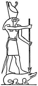 Horus of Edfu spearing the Crocodile (?) Set.
