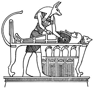 Anubis standing by the bier of the dead.