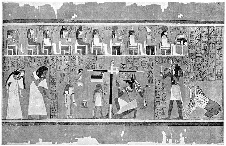The weighing of the heart of the Scribe Ani in the Great Scales in the Hall of Osiris.