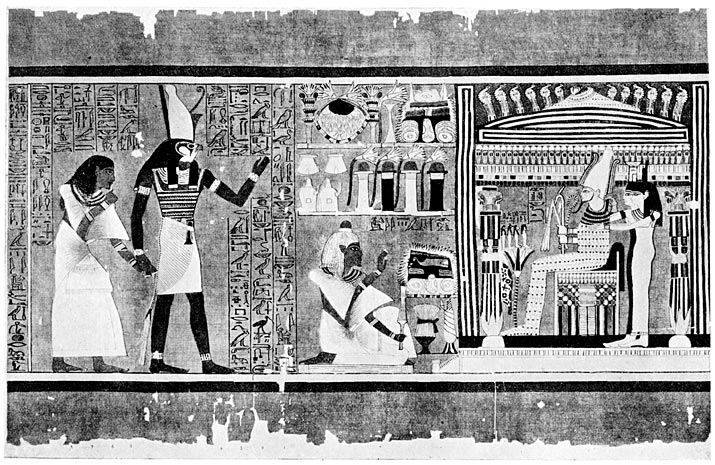 Horus, Son of Isis, introducing the Scribe Ani to Osiris.