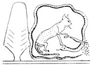 """The Sun-god Rā, in the form of the """"Great Cat,"""" sitting by the side of the Persea Tree of Anu, and cutting off the head of Āapep, the god of darkness and evil."""