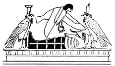 The soul visiting the mummified body in the tomb. The bird-goddess at the head is Isis, and that at the feet is Nephthys.