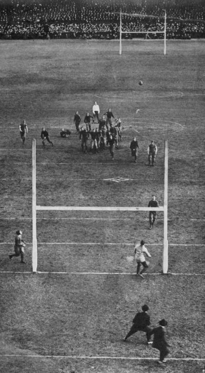 Northcroft kicking the field goal anticipated by the Navy and feared by the Army