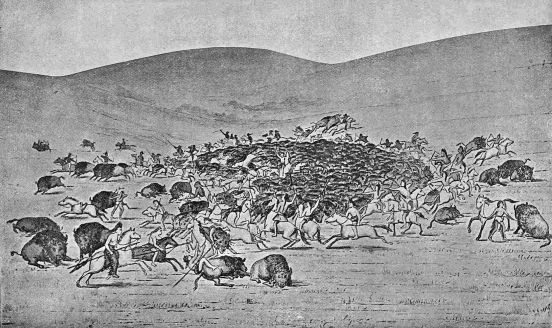 THE SURROUND. From a painting in the National Museum by George Catlin.