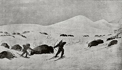 INDIANS ON SNOW-SHOES HUNTING BUFFALOES.