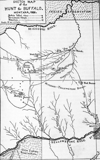Sketch map of the hunt for buffalo. Montana 1886.