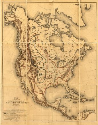 MAP ILLUSTRATING THE EXTERMINATION OF THE AMERICAN BISON PREPARED BY W. T. HORNADAY.