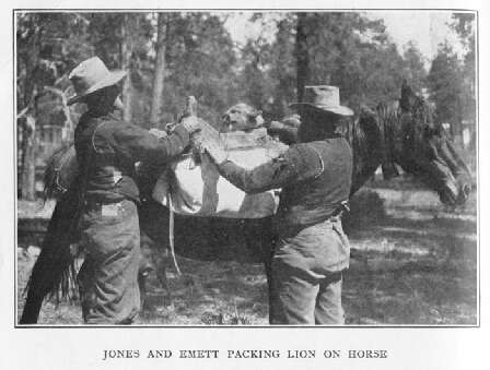 Jones and Emett Packing Lion on Horse