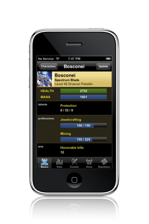 World of Warcraft Characters App for the iPod Touch/iPhone