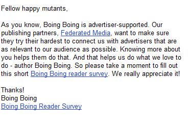 Boing! Boing! Marketing Survey