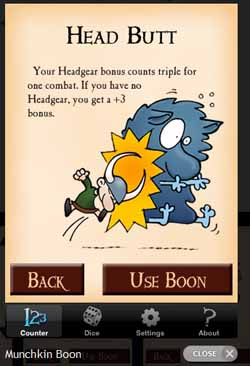 Munchkin Level Counter - Boon screen