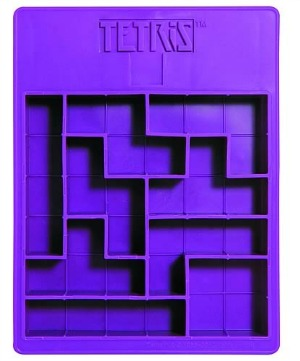 Ice cube tray designed to make ice cubes that look like Tetris pieces