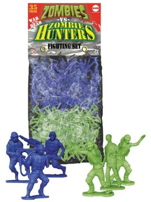 A bag of green and blue plastic figures of zombies and zombie hunters