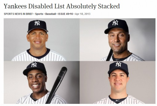 The Onion: Yankees Disabled List Absolutely Stacked