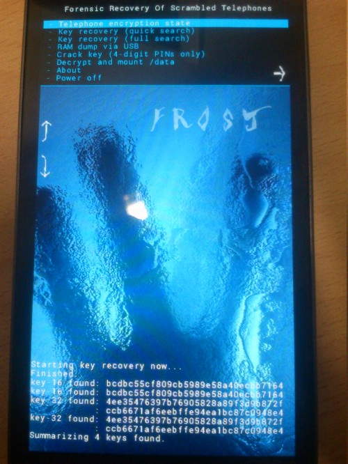 Frost - Cold Boot Attack Against Mobile Phone
