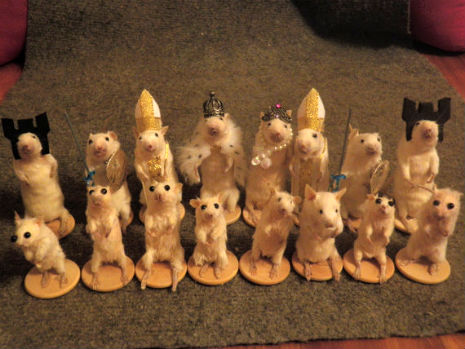 Taxidermied MIce Chess Set