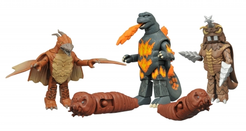 Rodan, Mothra Larvae, Burning Godzilla and Megalon