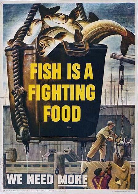 World War II Propaganda Poster - Fish Is Fighting Food