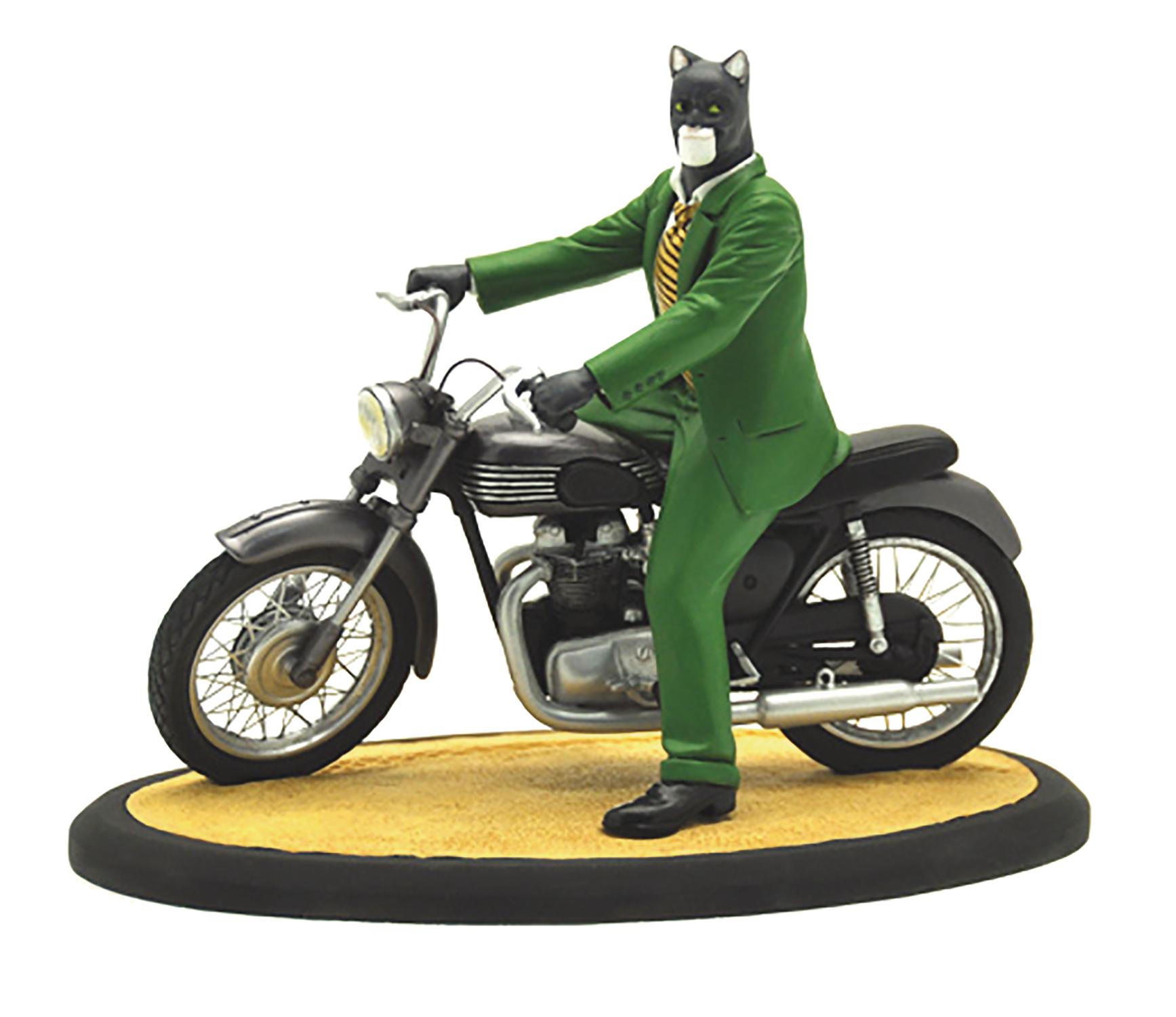 Statue of Blacksad on a Motorcycle